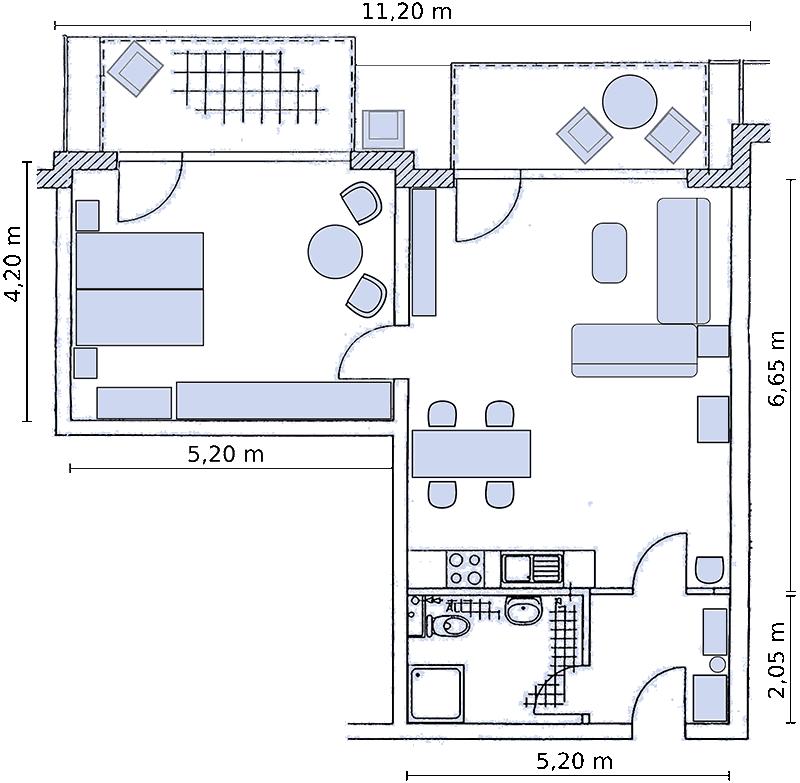 gro e 2 zimmer ferienwohnung d nen lounge r gen in glowe auf r gen f r bis zu 4 personen. Black Bedroom Furniture Sets. Home Design Ideas